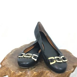 Banana republic black leather flats gold detail